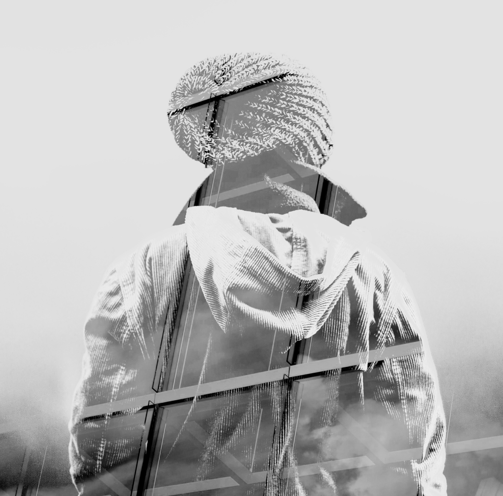 Double exposure: Man/Grid