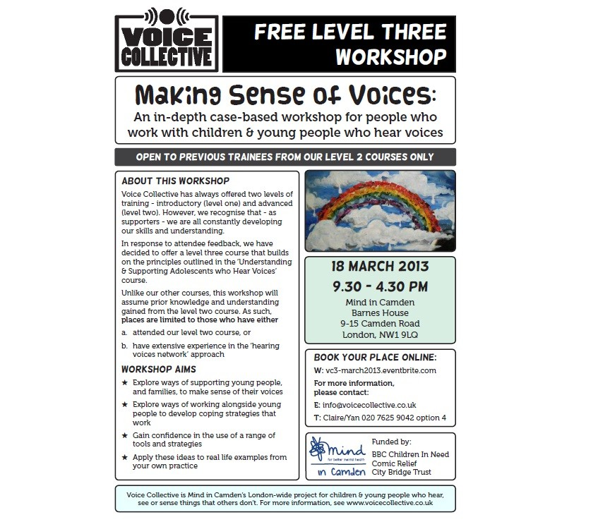 Voice Collective training - Making sense of Voices flyer