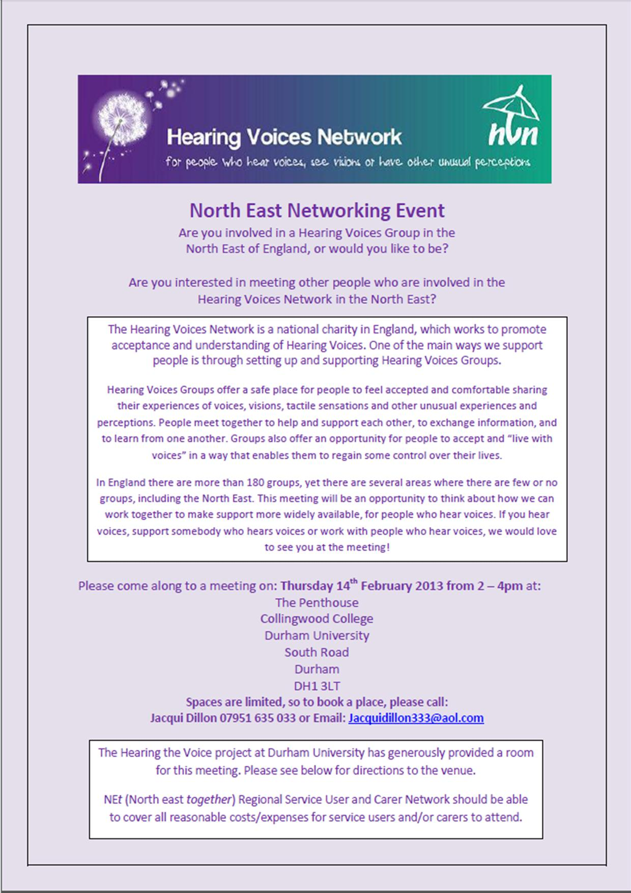 HVN North East Networking Event flyer image