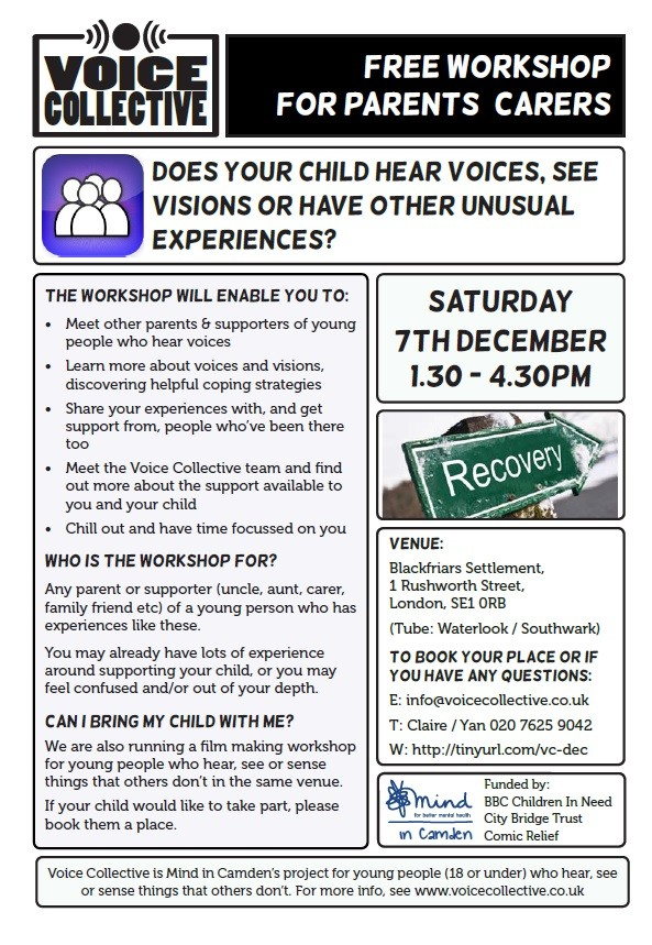 Parents and carers workshop