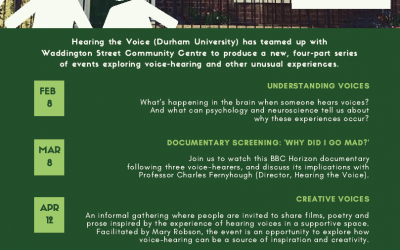 Announcing a new series of events produced by Hearing the Voice and Waddington Street Community Centre, Durham (February-May 2018)