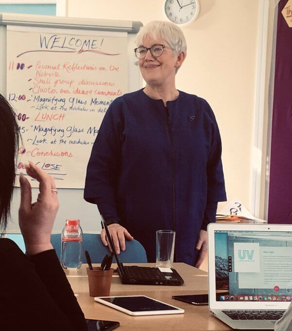 Creative facilitator Mary Robson welcomes participants to a consultation workshop in Durham.